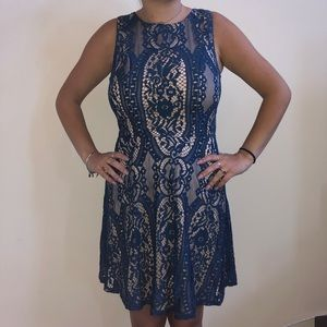 Blue Patterned Floral Dress - S - Cream Lining